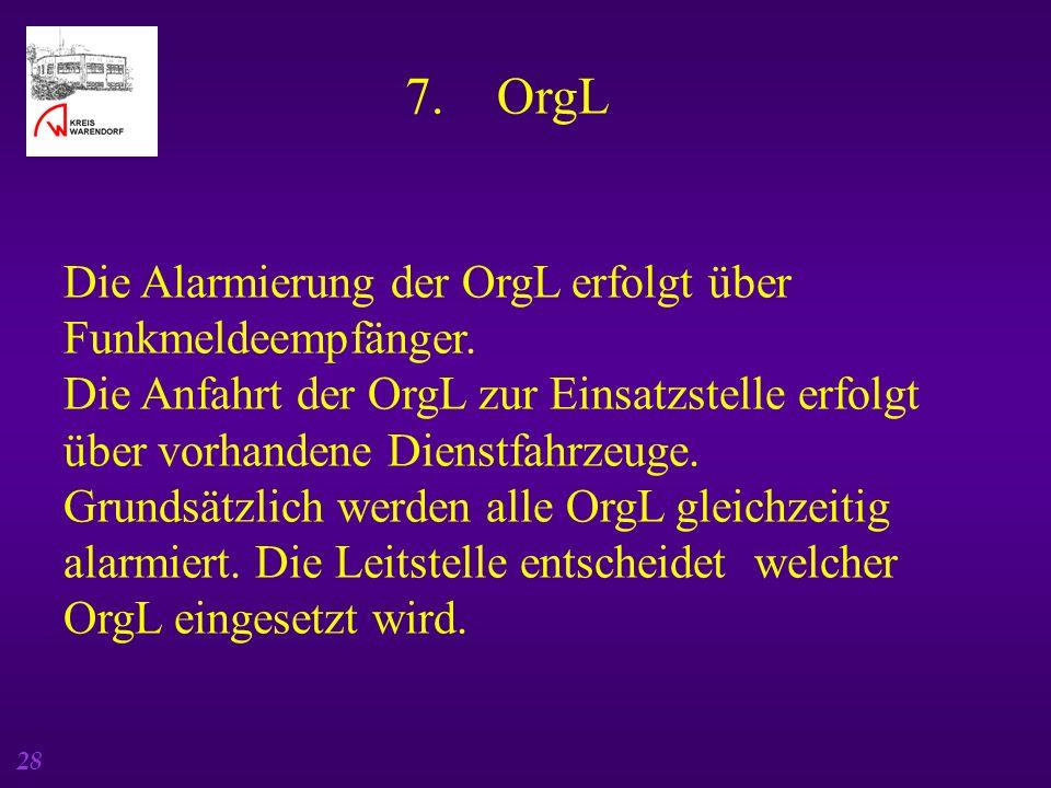 7. OrgL Die Alarmierung der OrgL erfolgt über Funkmeldeempfänger.