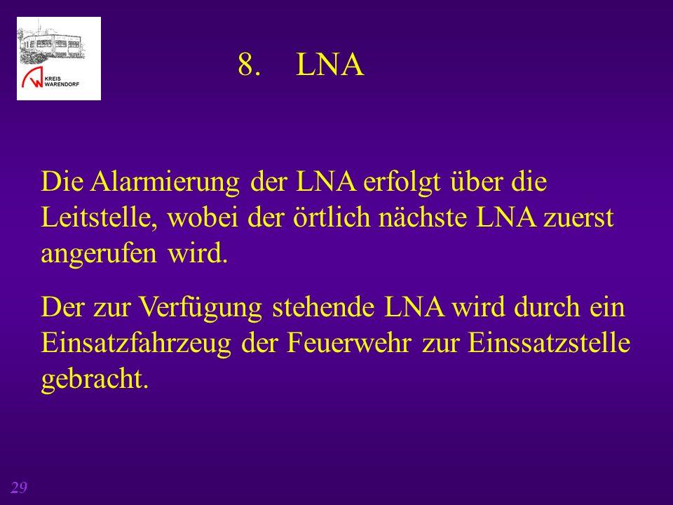 8. LNA Die Alarmierung der LNA erfolgt über die Leitstelle, wobei der örtlich nächste LNA zuerst angerufen wird.