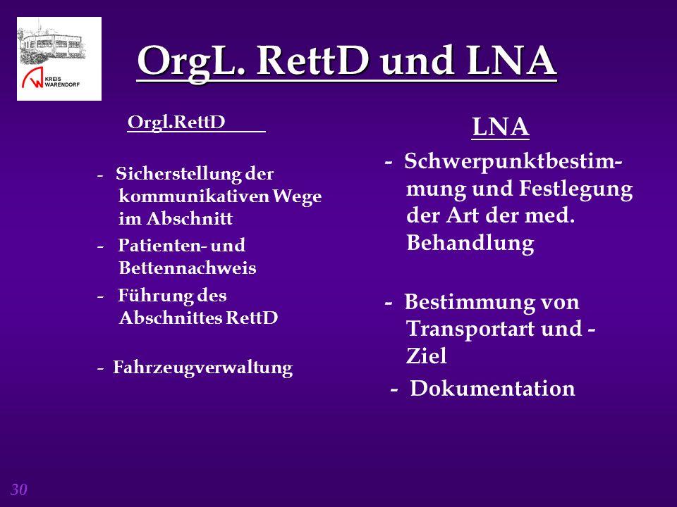 OrgL. RettD und LNA Orgl.RettD. - Sicherstellung der kommunikativen Wege im Abschnitt. - Patienten- und Bettennachweis.