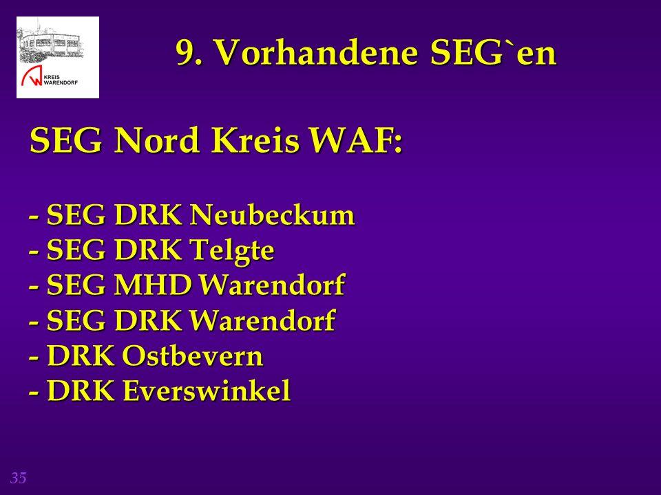 9. Vorhandene SEG`en SEG Nord Kreis WAF: - SEG DRK Neubeckum - SEG DRK Telgte - SEG MHD Warendorf - SEG DRK Warendorf