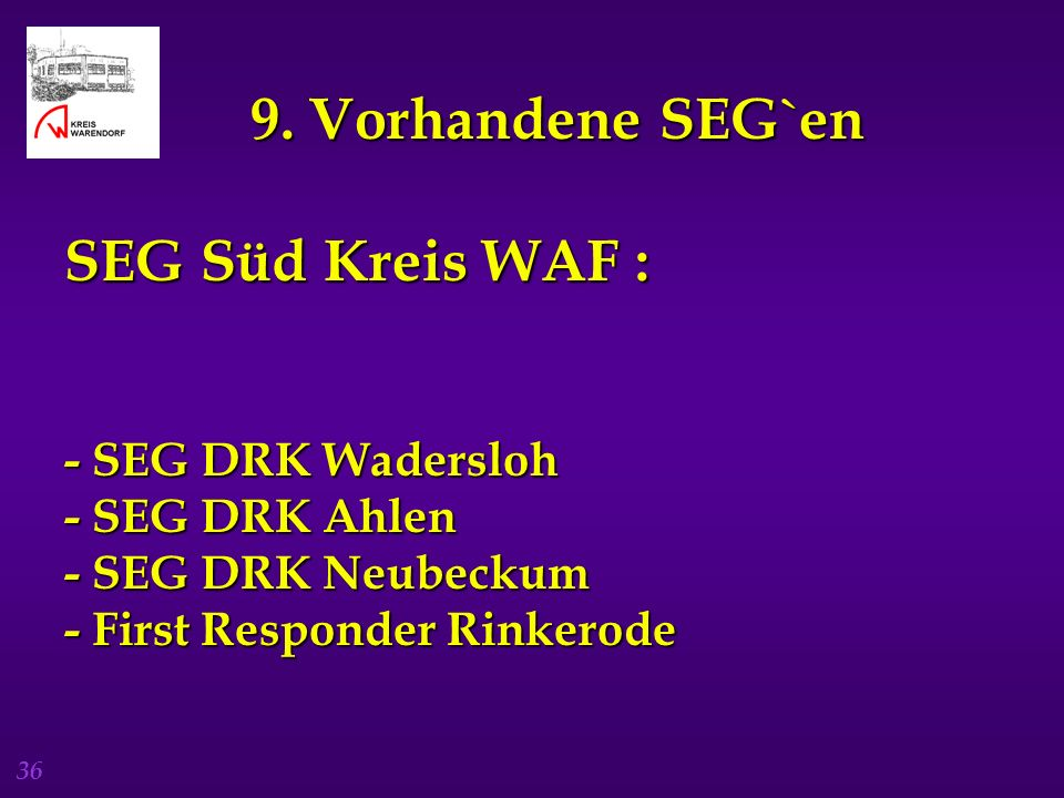 9. Vorhandene SEG`en SEG Süd Kreis WAF :