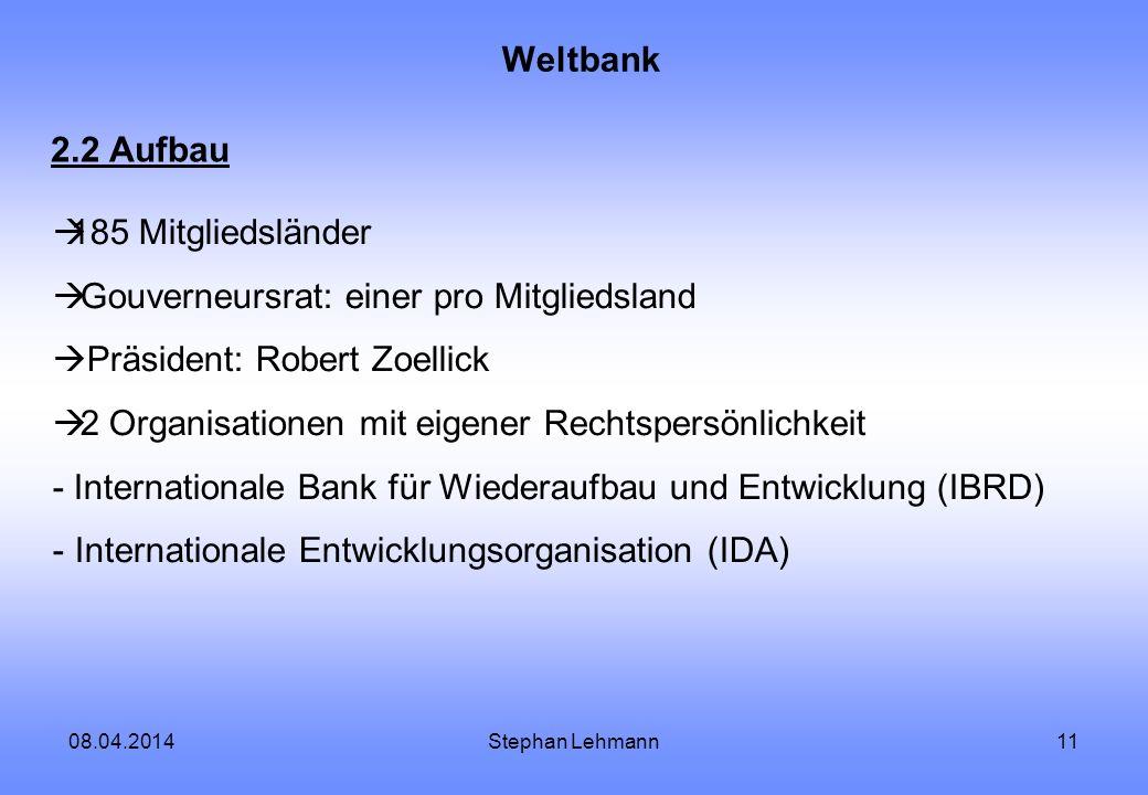 Gouverneursrat: einer pro Mitgliedsland Präsident: Robert Zoellick