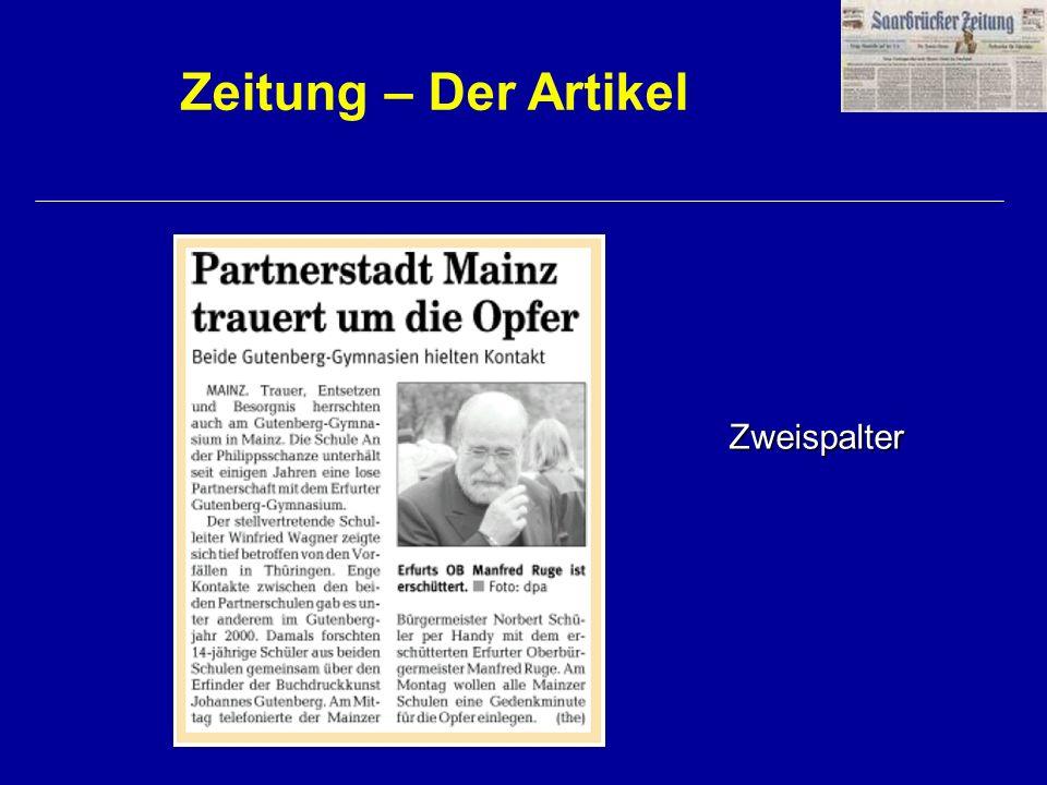 Zeitung – Der Artikel Zweispalter