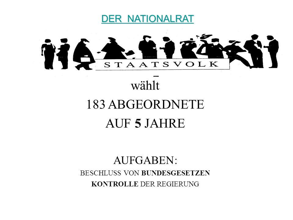 wählt 183 ABGEORDNETE AUF 5 JAHRE AUFGABEN: DER NATIONALRAT