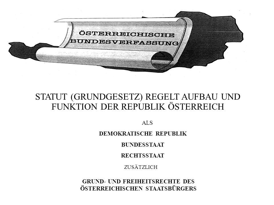 STATUT (GRUNDGESETZ) REGELT AUFBAU UND FUNKTION DER REPUBLIK ÖSTERREICH