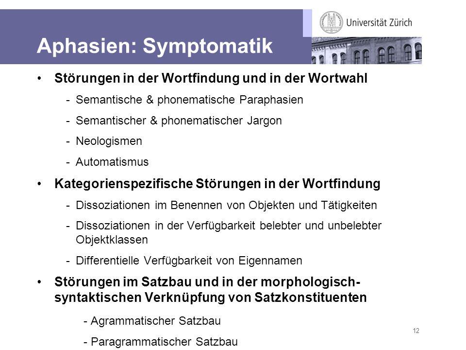 Aphasien: Symptomatik