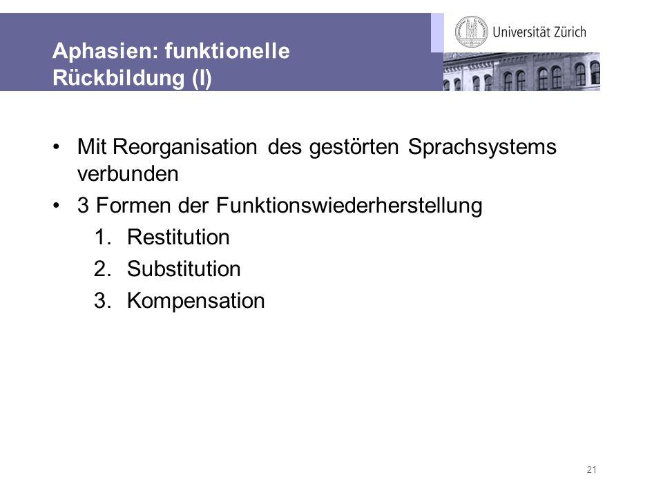 Aphasien: funktionelle Rückbildung (I)