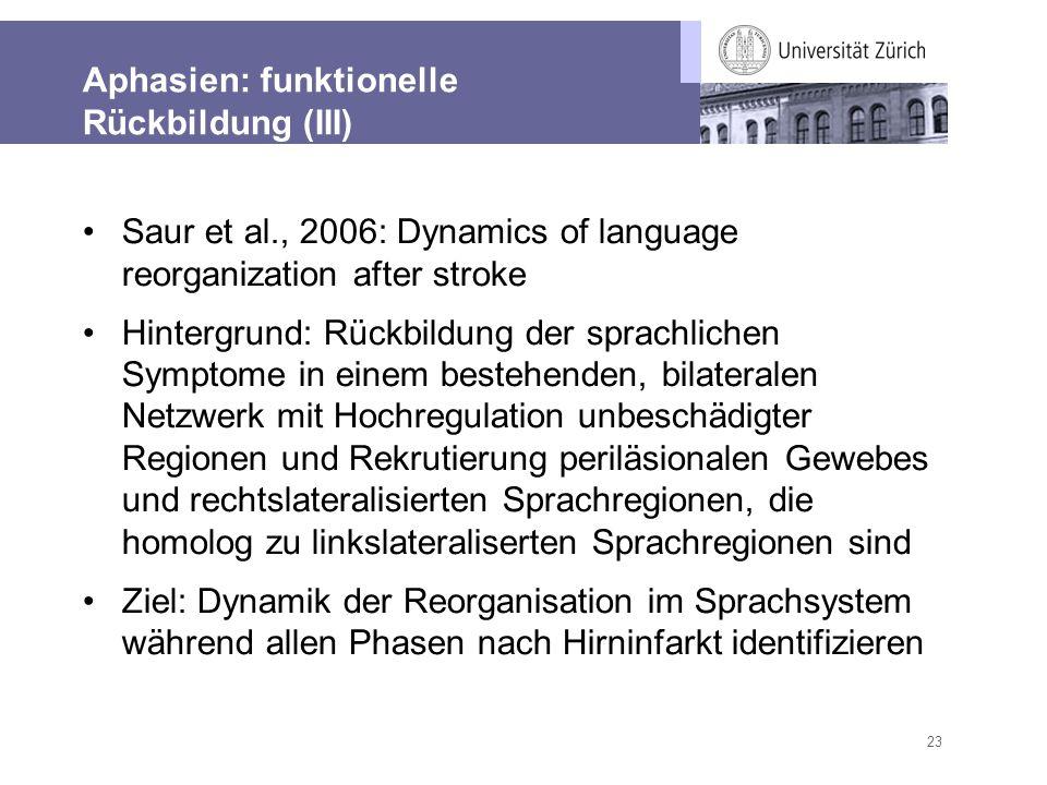 Aphasien: funktionelle Rückbildung (III)