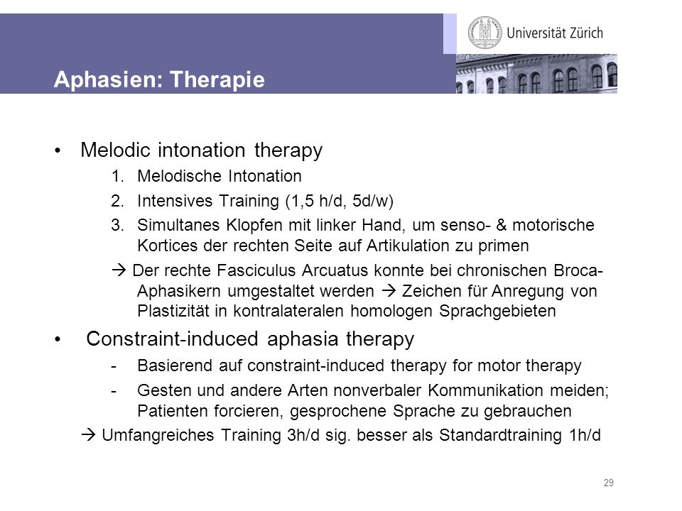 Aphasien: Therapie Melodic intonation therapy