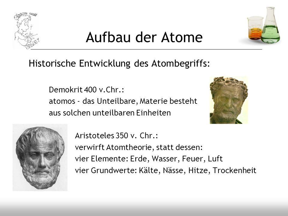 Aufbau der Atome Historische Entwicklung des Atombegriffs: