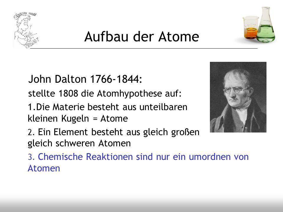Aufbau der Atome John Dalton 1766-1844: