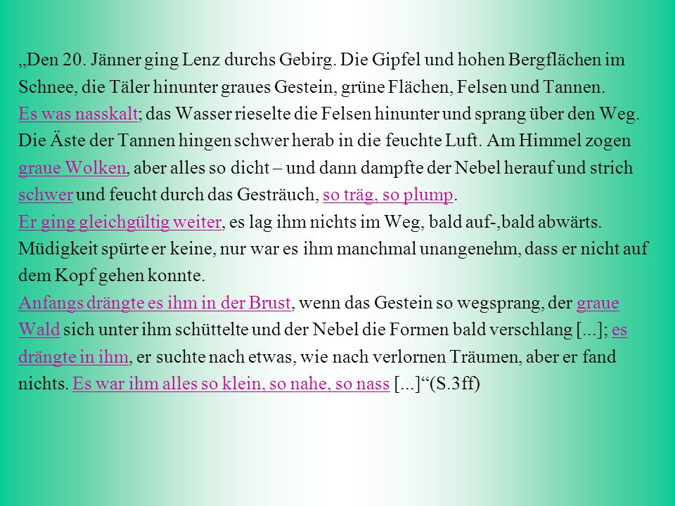 """""""Den 20. Jänner ging Lenz durchs Gebirg"""