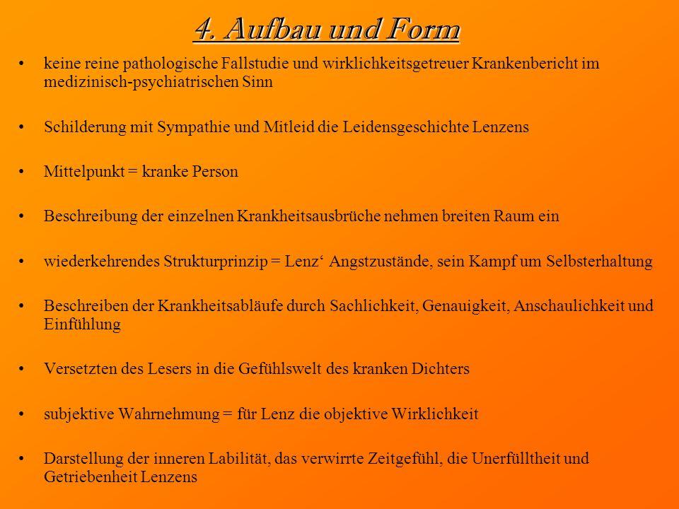 4. Aufbau und Form keine reine pathologische Fallstudie und wirklichkeitsgetreuer Krankenbericht im medizinisch-psychiatrischen Sinn.