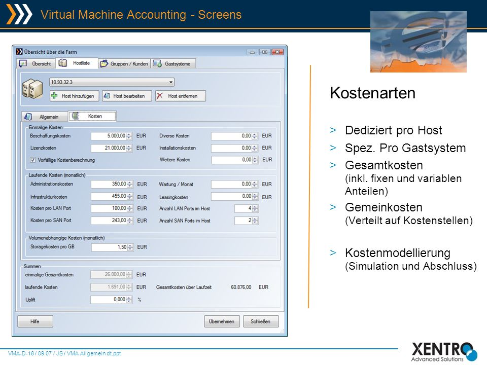 Kostenarten Virtual Machine Accounting - Screens Dediziert pro Host