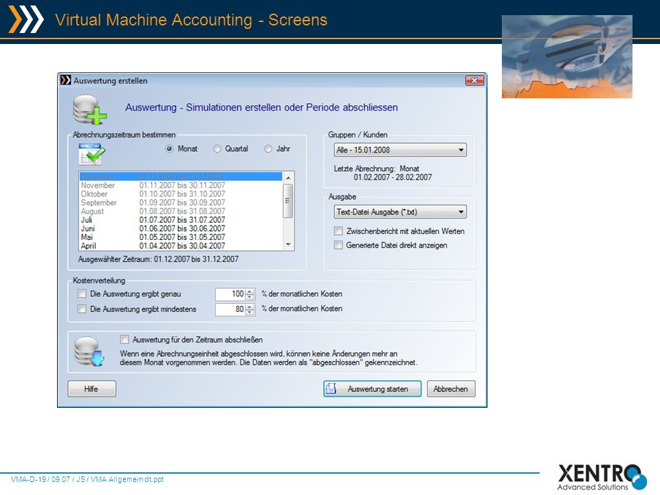 Virtual Machine Accounting - Screens