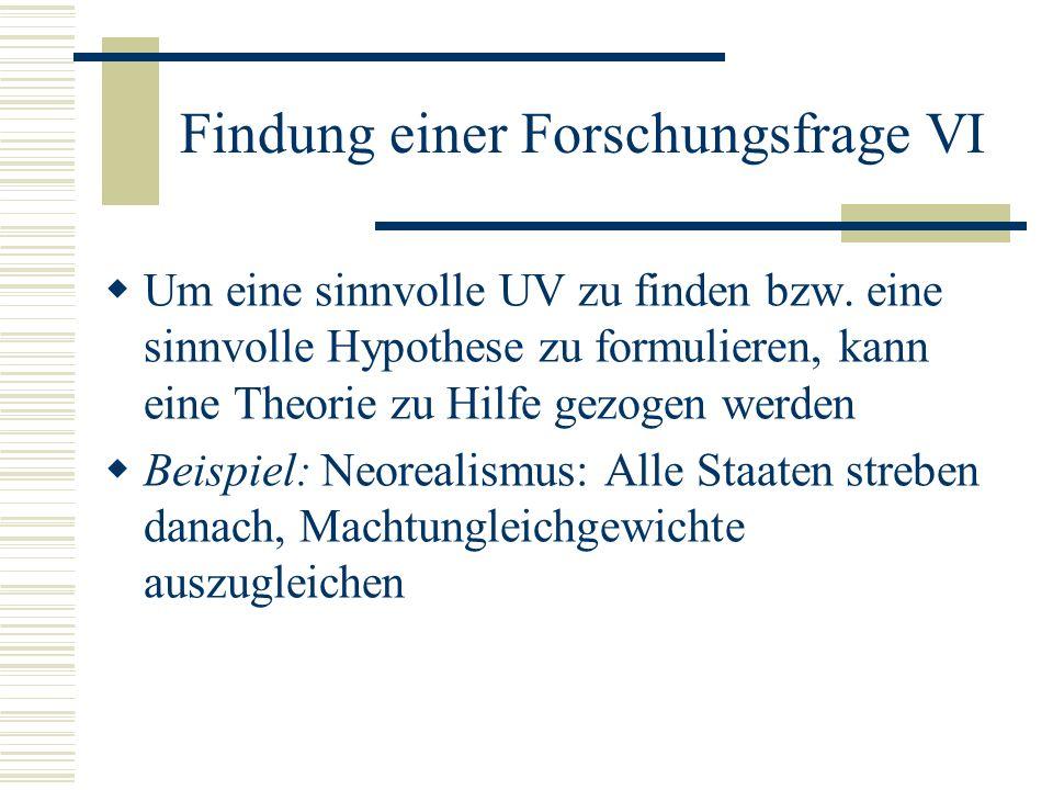 Findung einer Forschungsfrage VI