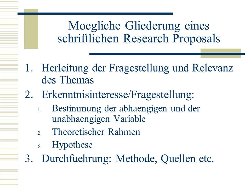 Moegliche Gliederung eines schriftlichen Research Proposals