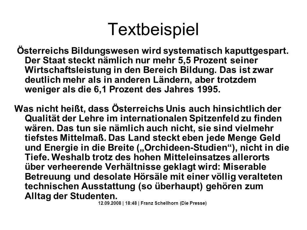 12.09.2008 | 18:48 | Franz Schellhorn (Die Presse)
