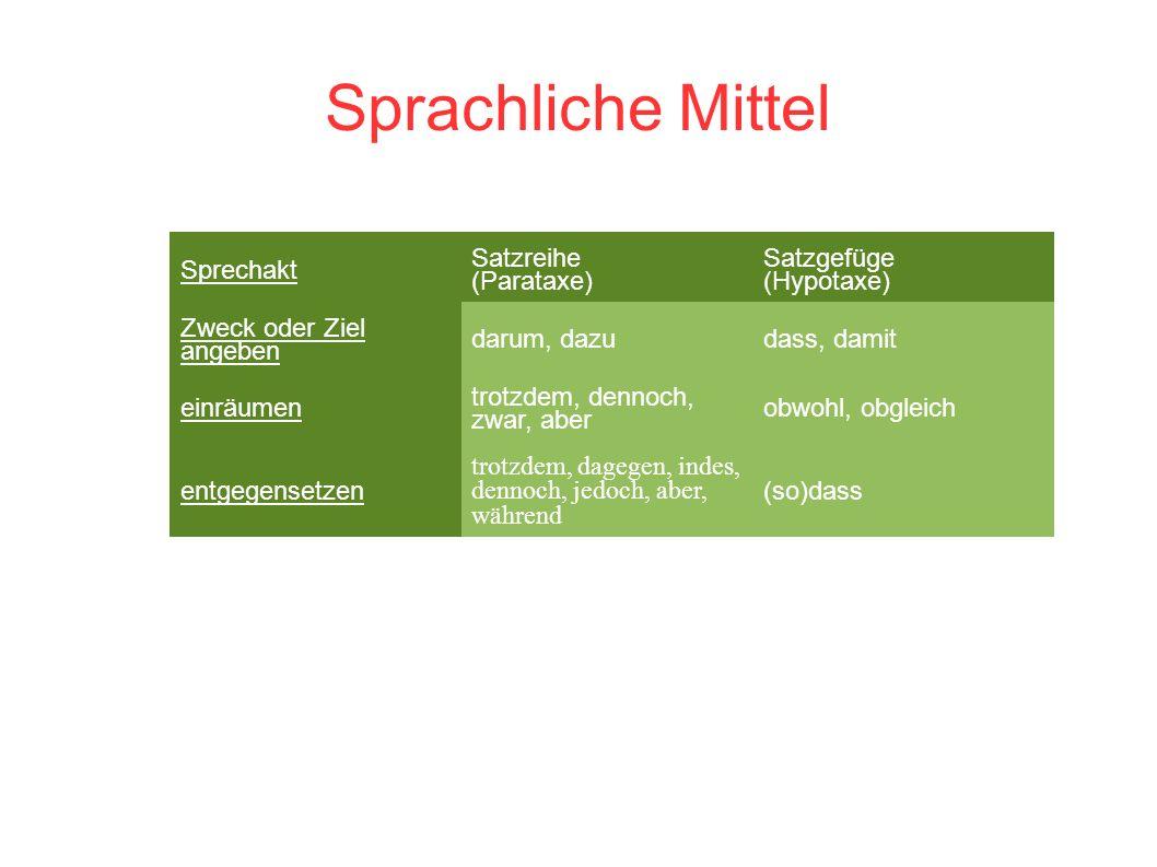 Sprachliche Mittel Sprechakt Satzreihe (Parataxe)