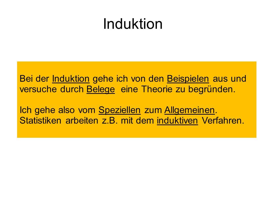 Induktion Bei der Induktion gehe ich von den Beispielen aus und versuche durch Belege eine Theorie zu begründen.