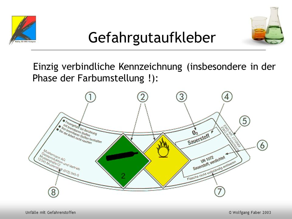 GefahrgutaufkleberEinzig verbindliche Kennzeichnung (insbesondere in der Phase der Farbumstellung !):