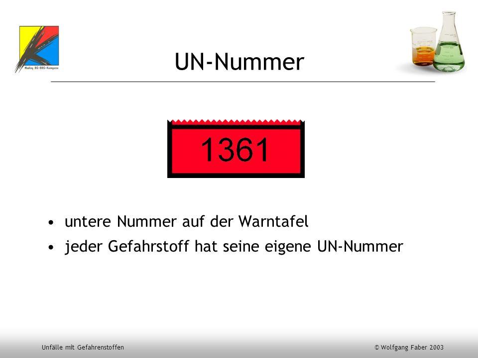 UN-Nummer untere Nummer auf der Warntafel