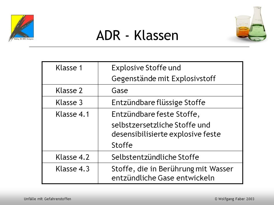 ADR - Klassen Klasse 1 Explosive Stoffe und
