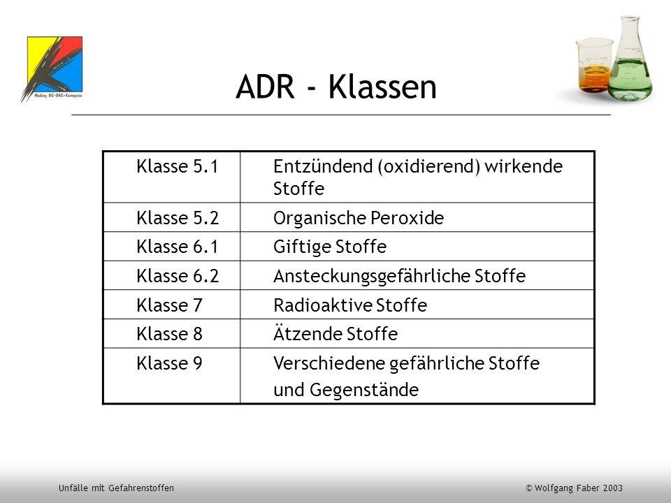ADR - Klassen Klasse 5.1 Entzündend (oxidierend) wirkende Stoffe