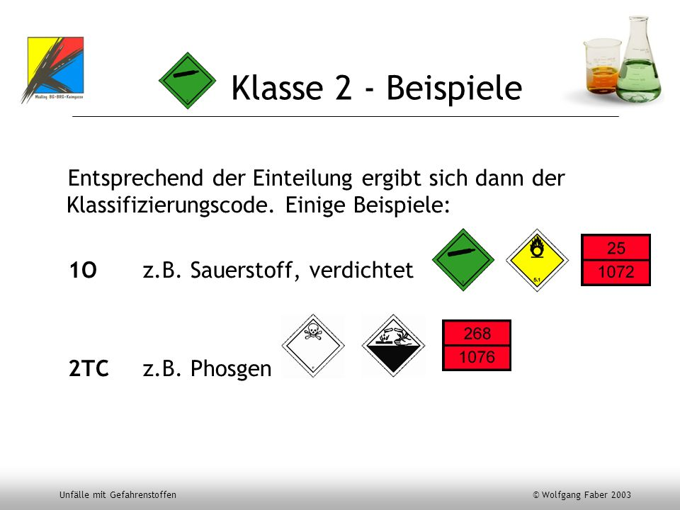 Klasse 2 - BeispieleEntsprechend der Einteilung ergibt sich dann der Klassifizierungscode. Einige Beispiele: