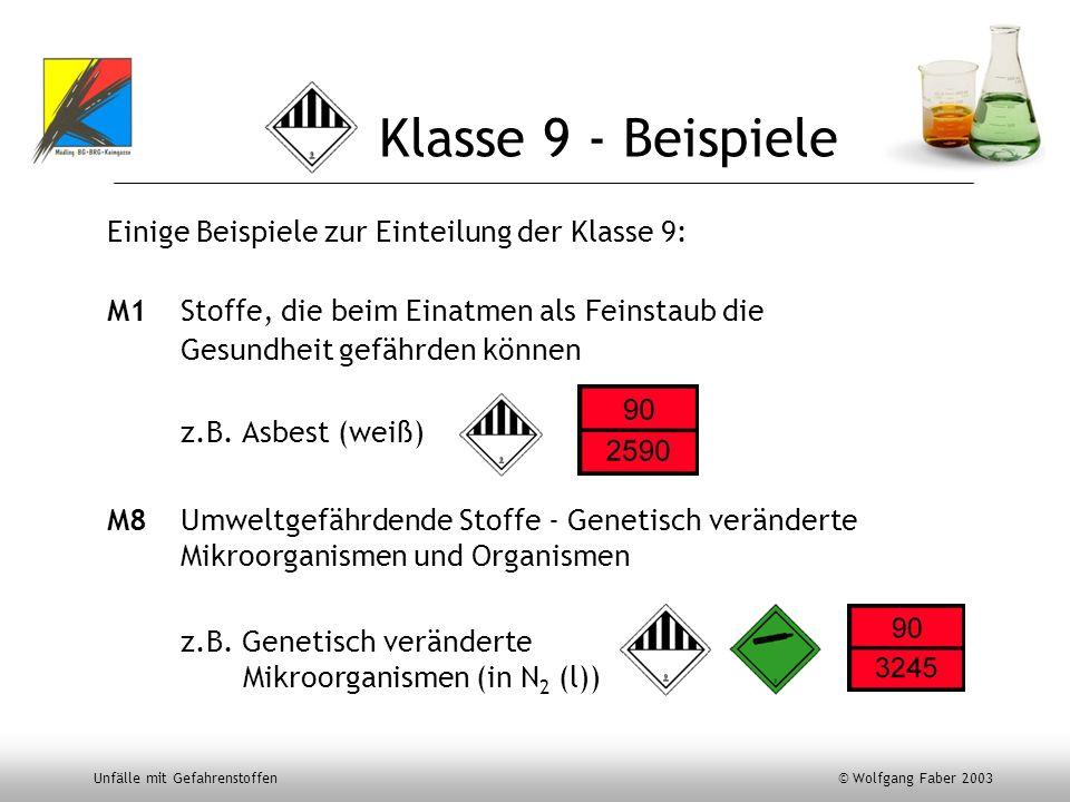 Klasse 9 - Beispiele Einige Beispiele zur Einteilung der Klasse 9: