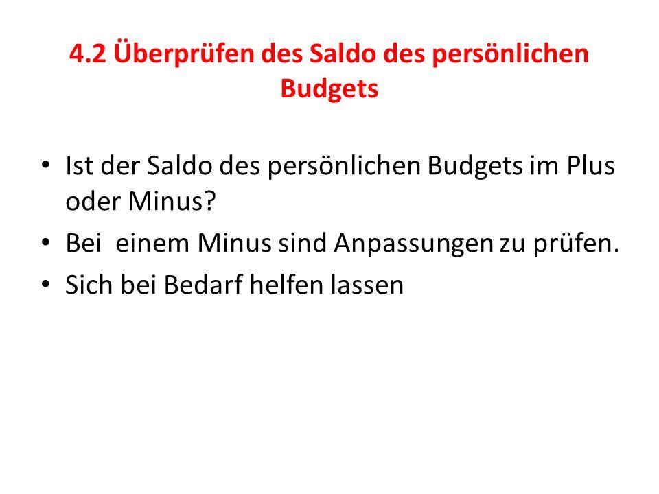 4.2 Überprüfen des Saldo des persönlichen Budgets