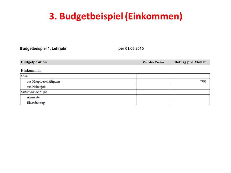 3. Budgetbeispiel (Einkommen)
