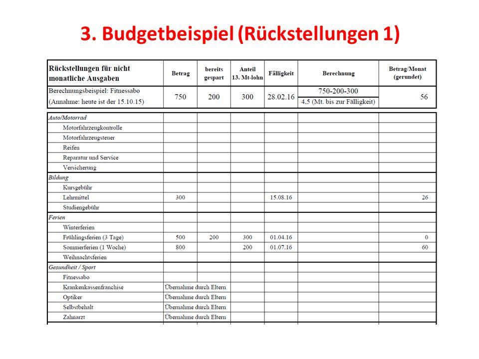 3. Budgetbeispiel (Rückstellungen 1)