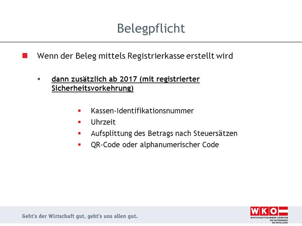Belegpflicht Wenn der Beleg mittels Registrierkasse erstellt wird