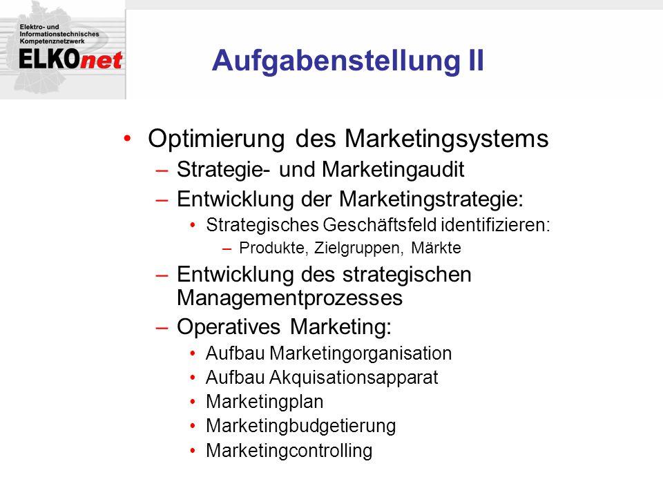 Aufgabenstellung II Optimierung des Marketingsystems