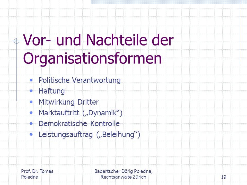 Vor- und Nachteile der Organisationsformen
