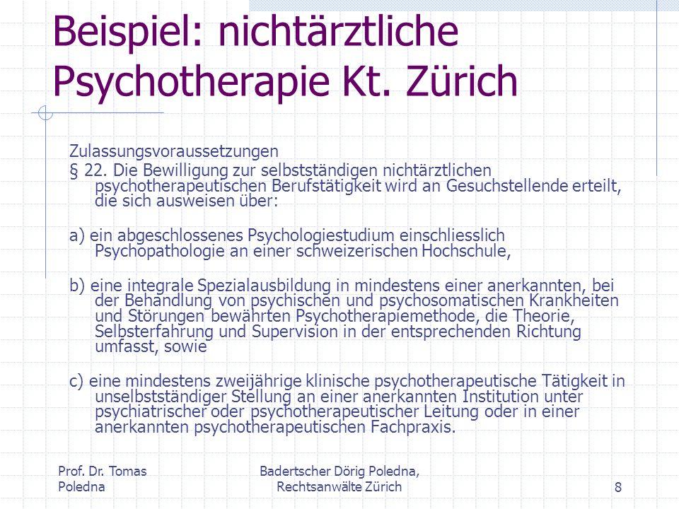 Beispiel: nichtärztliche Psychotherapie Kt. Zürich