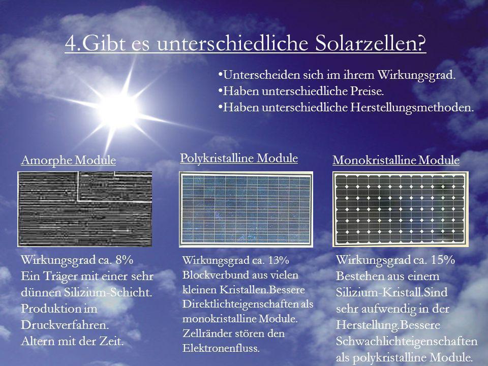 4.Gibt es unterschiedliche Solarzellen