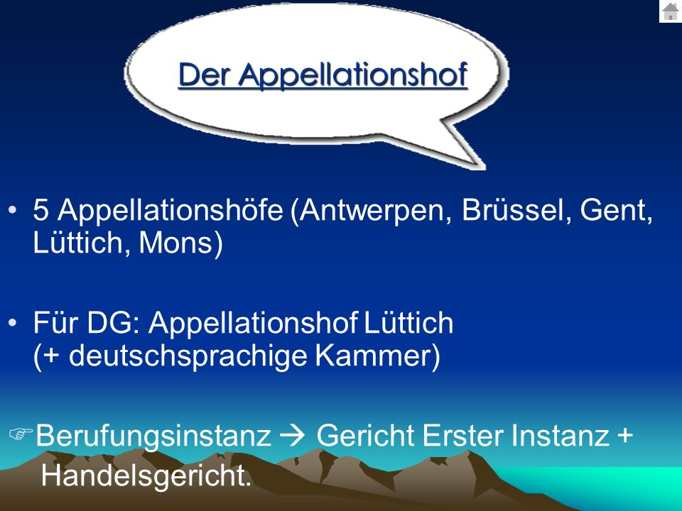 Der Appellationshof 5 Appellationshöfe (Antwerpen, Brüssel, Gent, Lüttich, Mons)
