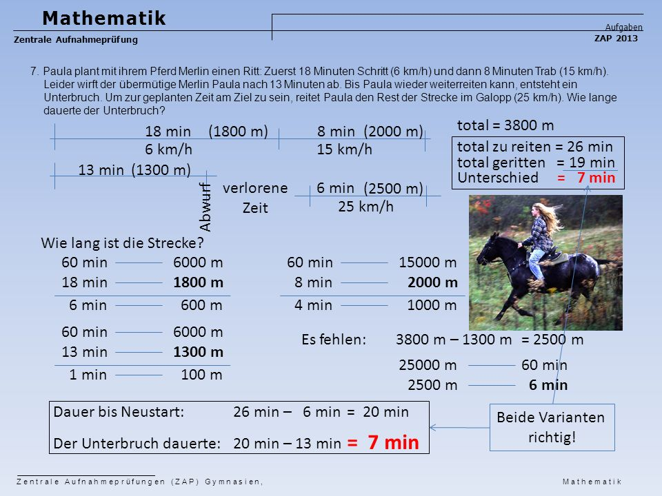= 7 min Mathematik total = 3800 m 18 min (1800 m) 8 min (2000 m)