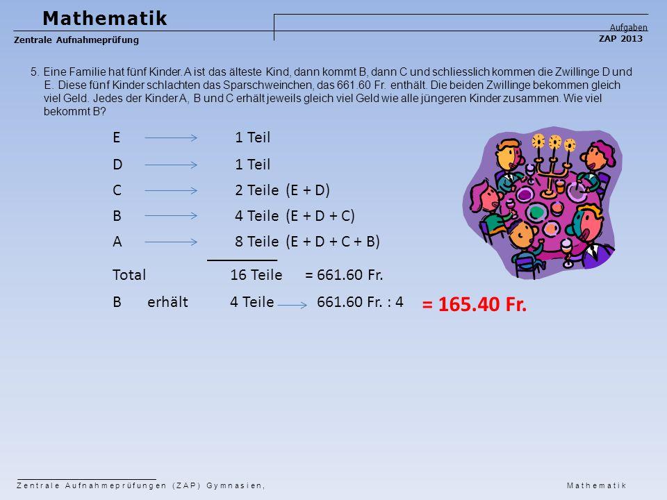 = 165.40 Fr. Mathematik E 1 Teil D 1 Teil C 2 Teile (E + D) B