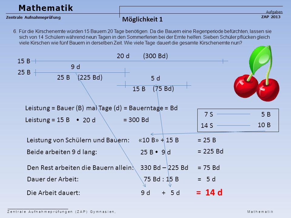 = 14 d Mathematik Möglichkeit 1 20 d (300 Bd) 15 B 9 d 25 B 25 B