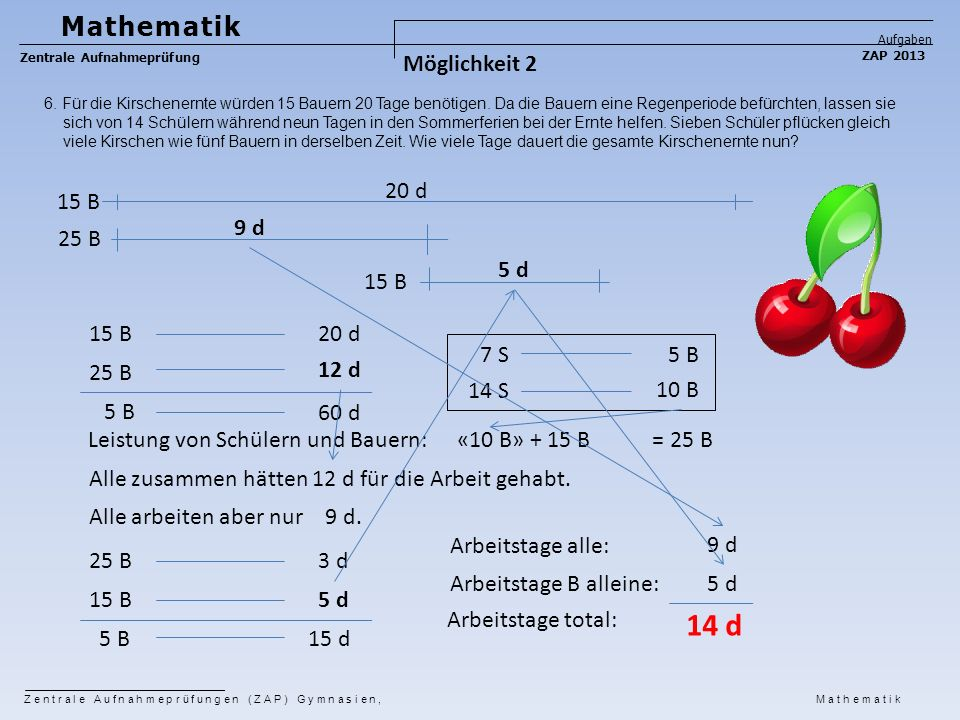 14 d Mathematik Möglichkeit 2 20 d 15 B 9 d 25 B 5 d 15 B 15 B 20 d
