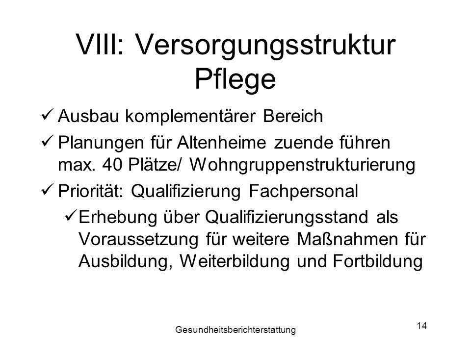 VIII: Versorgungsstruktur Pflege