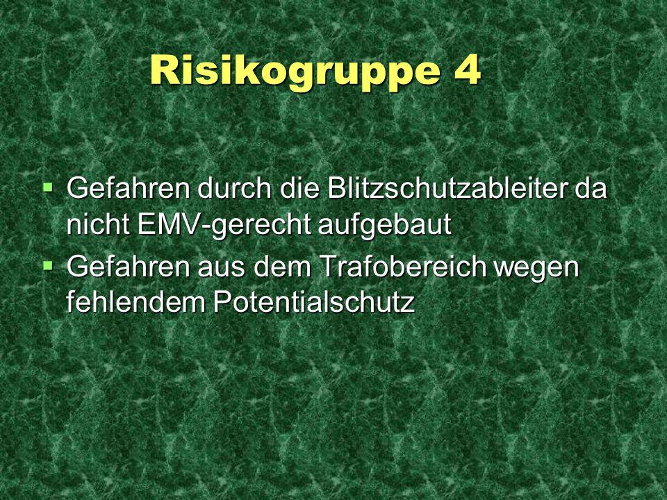 Risikogruppe 4 Gefahren durch die Blitzschutzableiter da nicht EMV-gerecht aufgebaut.