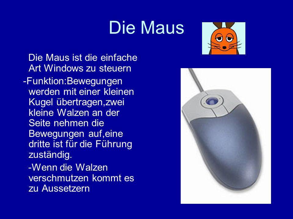 Die Maus Die Maus ist die einfache Art Windows zu steuern