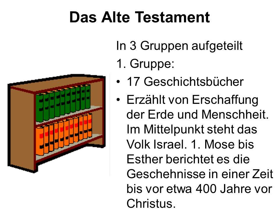Das Alte Testament In 3 Gruppen aufgeteilt 1. Gruppe: