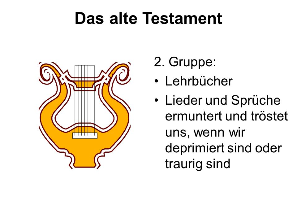 Das alte Testament 2. Gruppe: Lehrbücher