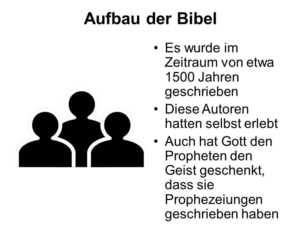 Aufbau der Bibel Es wurde im Zeitraum von etwa 1500 Jahren geschrieben