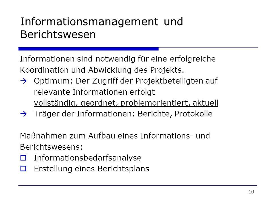 Informationsmanagement und Berichtswesen